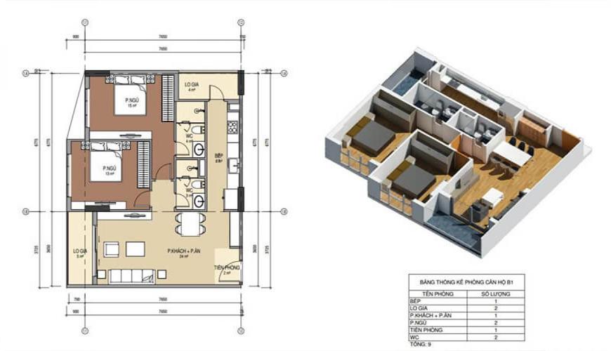 Thiết kế căn hộ số 1 chung cư Bình minh garden