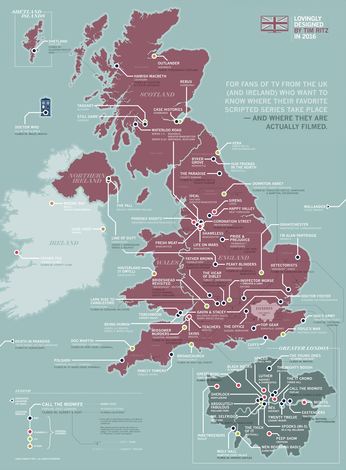 Map showing where British TV shows take place