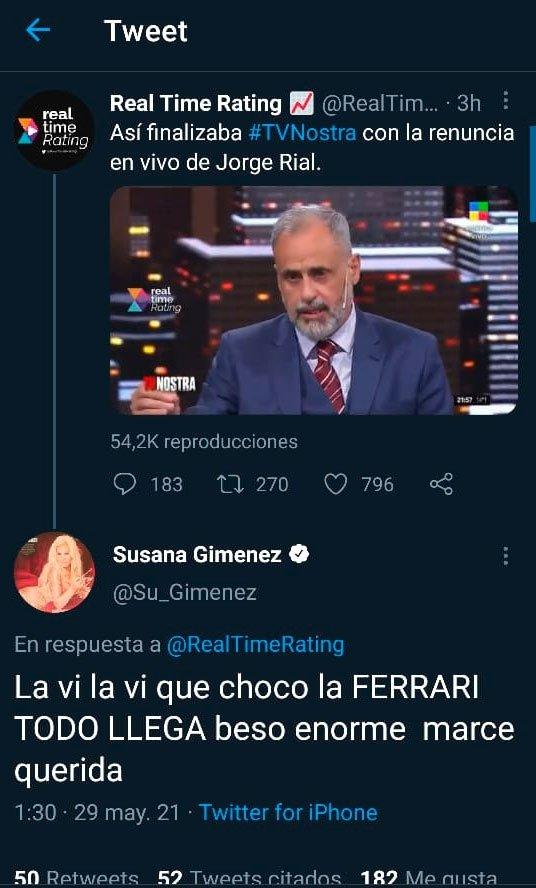"Susana Giménez mandó por error un polémico tweet por el final de TV Nostra: ""Todo llega"""