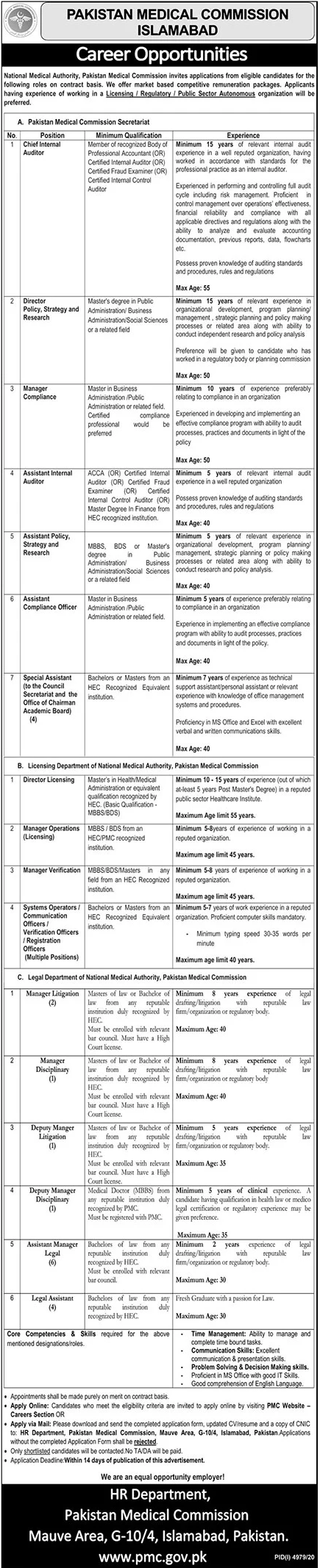 Pakistan Medical Commission PMC Jobs 2021 in Islamabad