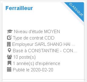 Employeur : SARL SHANG HAI CONSTRUCTION  Coffreur
