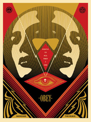 """I See Static"" Obey Giant Red Edition Screen Print by Shephard Fairey"