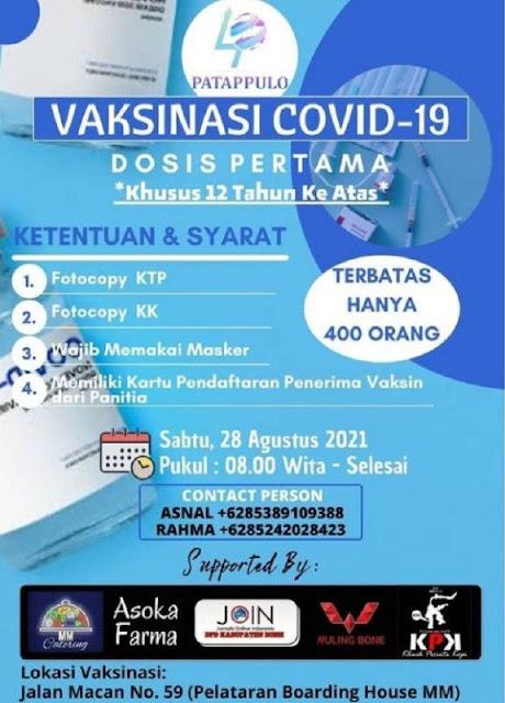 Catat! Info Terbaru Jadwal dan Lokasi Vaksinasi COVID-19 di Bone