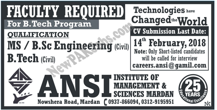 Faculty Required in ANSI Institute for B.Tech Program, Today Newspaper ads
