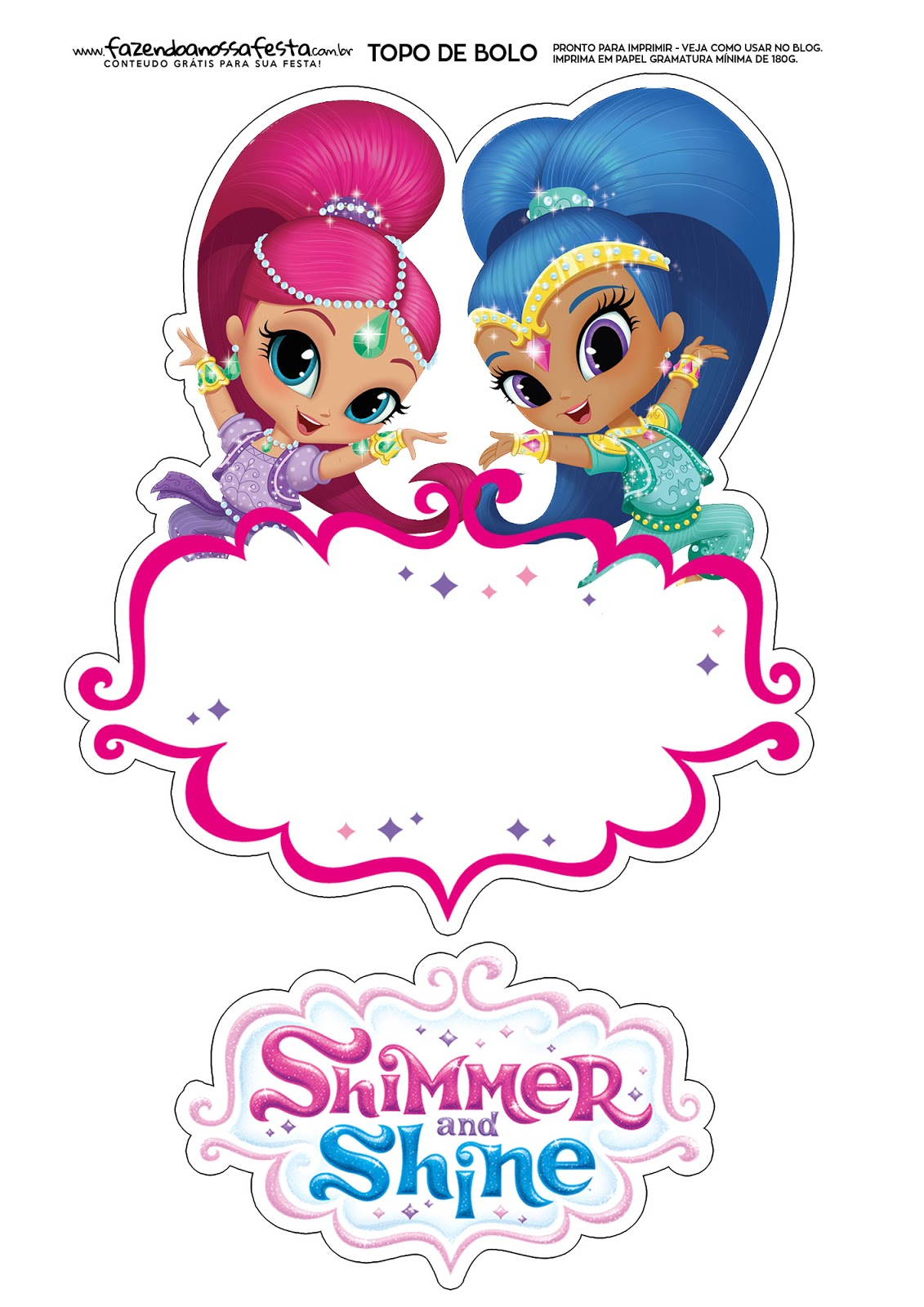 Shimmer And Shine Free Printable Cake Toppers Oh My Fiesta In English