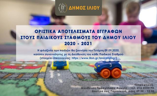 Οριστικά αποτελέσματα εγγραφών στους Παιδικούς Σταθμούς του Δήμου Ιλίου για το σχολικό έτος 2020 - 2021