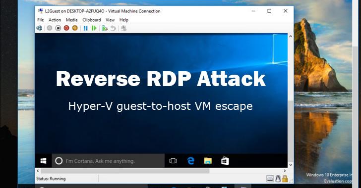 reverse rdp attack on windows hyper-v