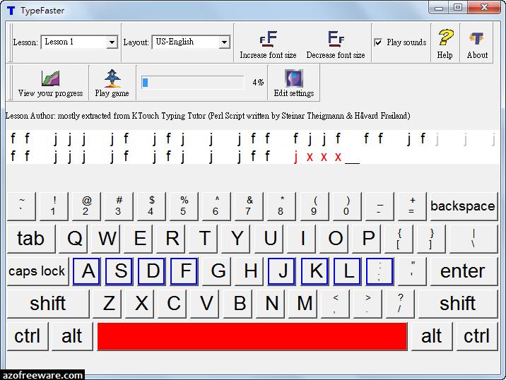 TypeFaster 0.4.2 免安裝版 - 適合初學者的英文打字練習軟體 - 免費軟體下載