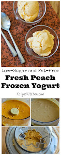 Low-Sugar and Fat-Free Fresh Peach Frozen Yogurt found on KalynsKitchen.com