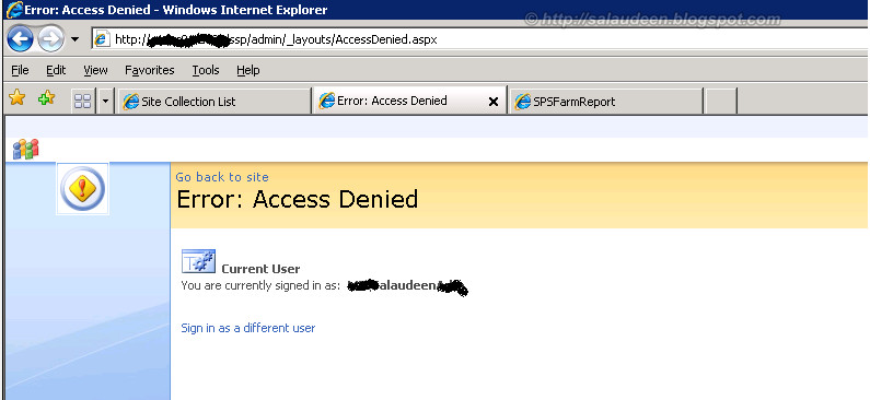 Access denied when trying to Open Shared Service Provider links in MOSS 2007