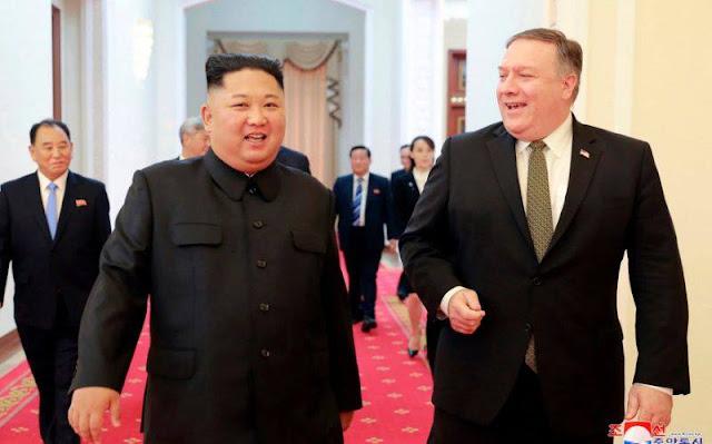 Chủ tịch Triều Tiên Kim Jong Un và Ngoại trưởng Mỹ Pompeo