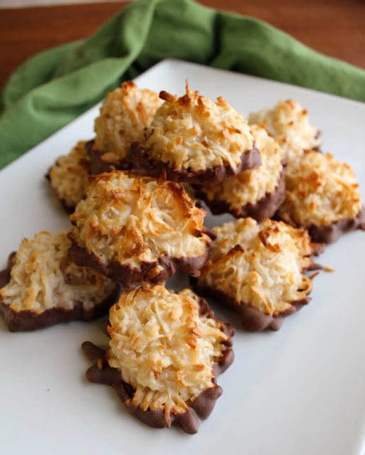platter of coconut macaroons with chocolate bottoms