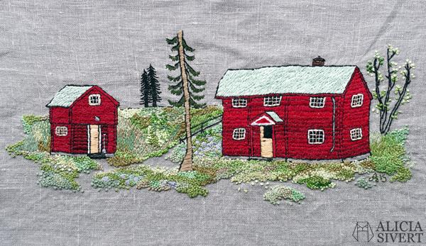 """""""Farfarstugan"""", embroidery by Alicia Sivertsson, 2015. Alicia Sivert, aliciasivert, fritt broderi, needlework, hoop art, textile art, textilkonst, textil, konst, hus, hem, byggnad, house, 1700-tal, natur, sverige, fjällen, kreativitet, skapande, skapa, brodera, hantverk, franska knutar, french knots, röd stuga, stugor, house, home, hut, cabin"""