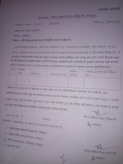 basic shiksha parishad fatehpur : बेसिक स्कूलों में खेल प्रभारी नियुक्त करने विषयक आदेश जारी