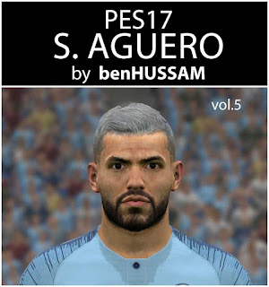 PES 2017 Aguero Face by benHUSSAM