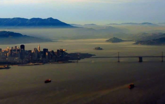 San Francisco bay is located on the California coast. The area around the bay, known as the Bay Area, is the second largest conglomerate in the American West by urban density with approximately 8 million inhabitants