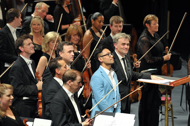 After the world premiere of Symphony, Raymond Yiu with countertenor Andrew Watts, conductor Edward Gardner and the BBC Symphony Orchestra at Royal Albert Hall, 25th August 2015 by Christopher Christodoulou