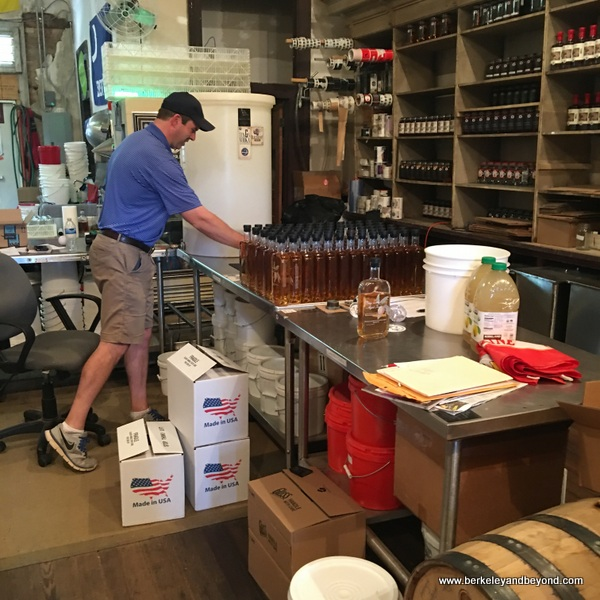 David Long in packing area at Carolina Moon Distillery in Edgefield, South Carolina
