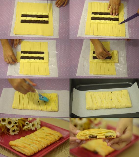 receita fácil Trança massa folhada de chocolate