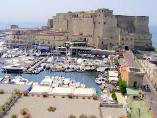 The Castel dell'Ovo and the harbour at Santa Lucia in Naples