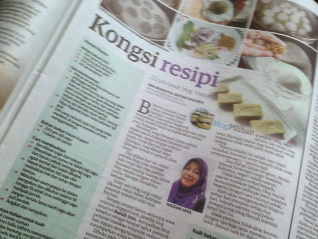 Kuih Sekaya Telur Dalam Akhbar Utusan Malaysia