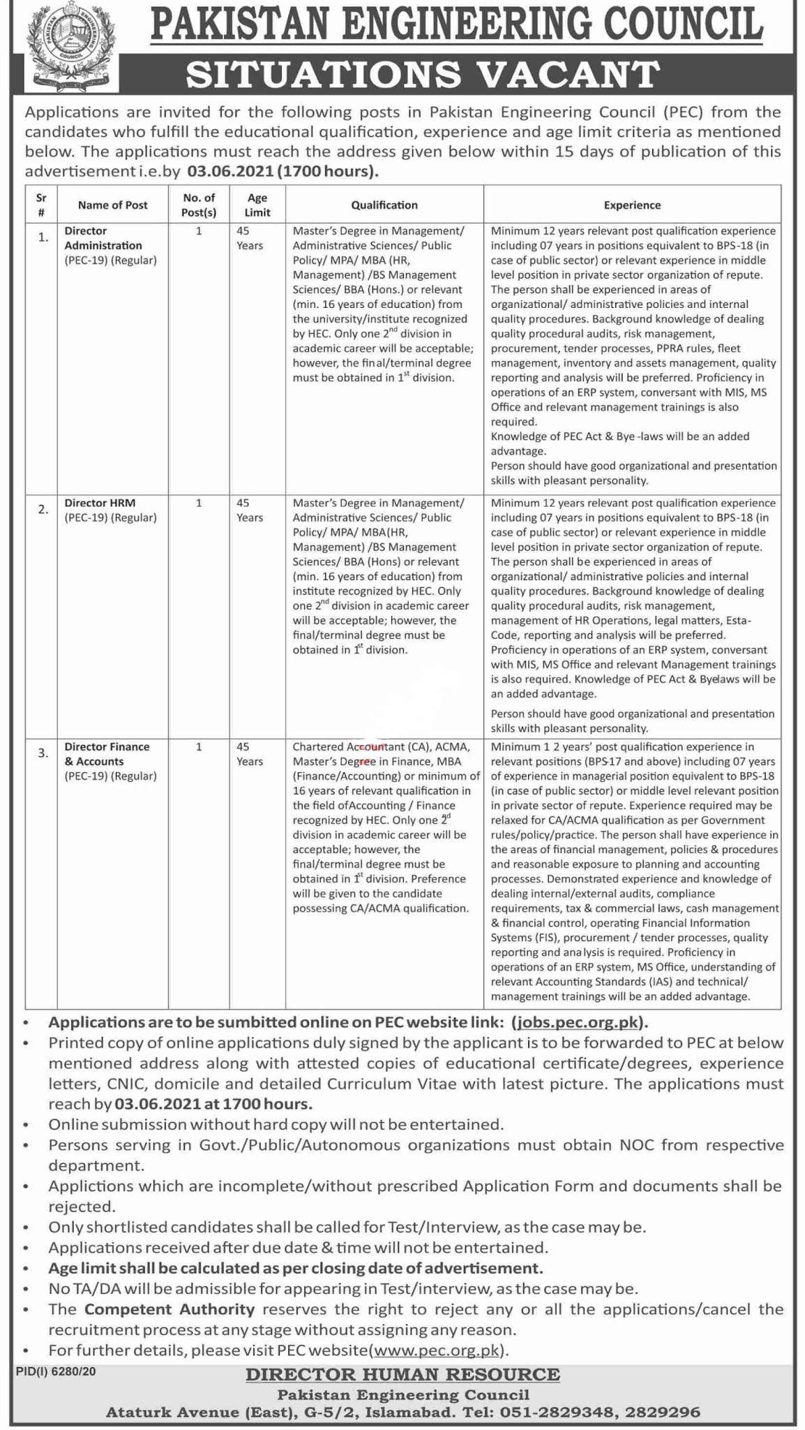 Pakistan Engineering Council PEC Islamabad Jobs 2021 for Director, Director Administration, Director HRM, Director Finance, Director Accounts