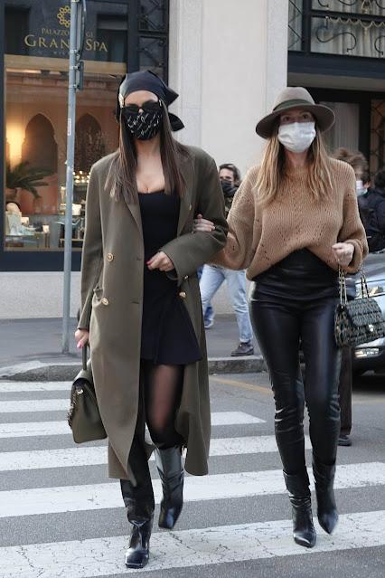 Irina Shayk – In a Versace getup as she walks with her friend Valentina Michetti in Milan