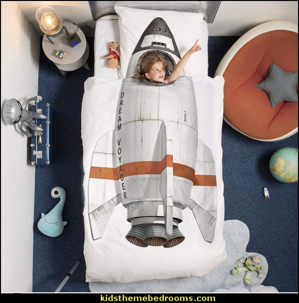 Rocket Ship Duvet Cover and Pillowcase  Outer space decor - space themed kids rooms - planets decor - astronaut wall murals  - outer space bedding - galaxy themed room decor - space themed bedding - planet wall decals - sci fi themed bedroom robots rockets monsters aliens - Star Wars Bedrooms -