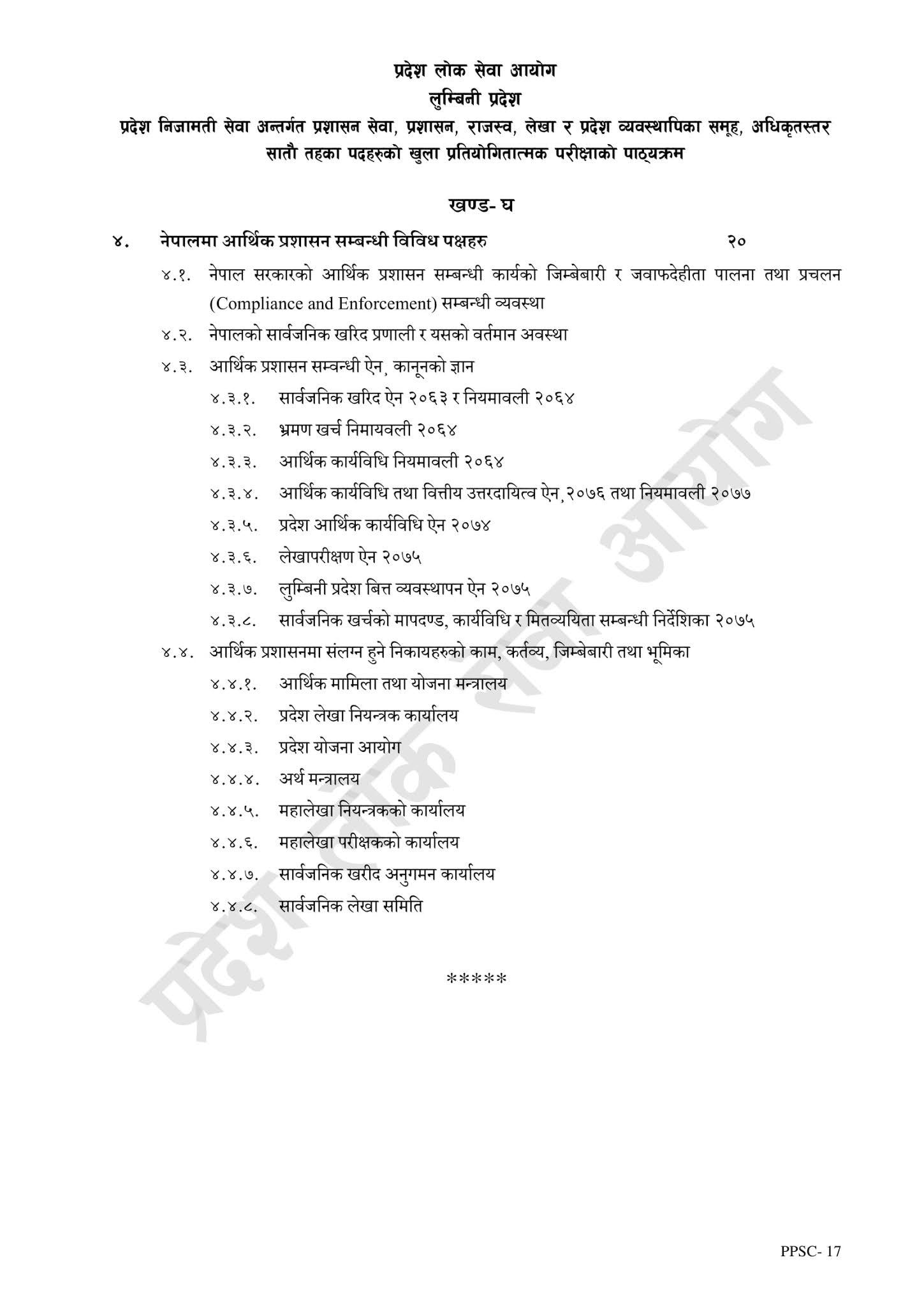 Officer 7th, Prashasan Syllabus PPSC Lumbini