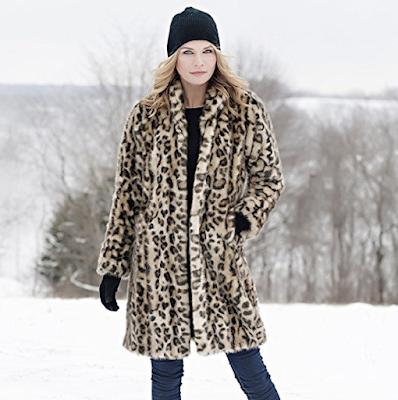 Leopard Faux Fur Stroller Coat