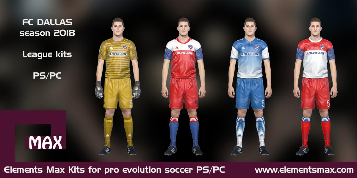 buy online ebda7 d63e6 Elements MAX Kits: FC Dallas PES Kits 2018
