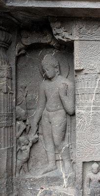 Buddha and Rahula - Ajanta Cave 19