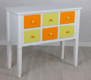 Consola 6 Cajones Naranja Blanco Amodai