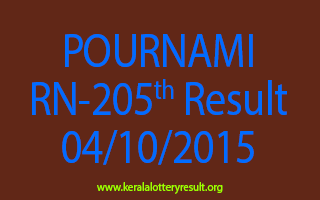 POURNAMI RN 205 Lottery Result 4-10-2015