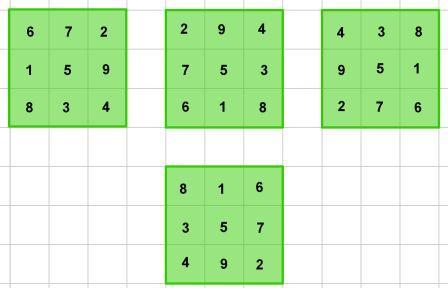 4 quadrati magici di ordine 3