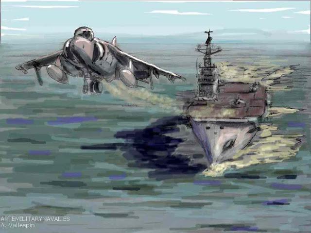Pintura de un avion Harrier despegando del Potaaviones Principe de Asturias