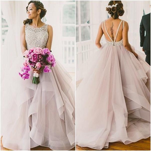 vestido de noiva saia com volume Angrila