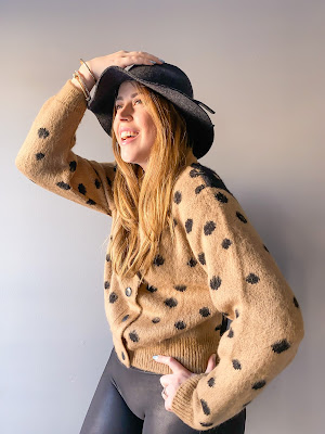 Top shop cardigan beige and black polka dot   Anne Klein gold bangles   Fedora hat   Spanx faux leather leggings   Canadian Blogger   Fashion Blogger