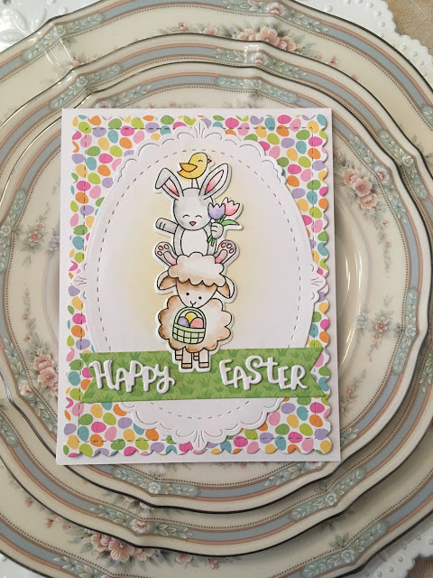 Happy Easter by Christine Miller features Spring Pile Up by Newton's Nook Designs; #newtonsnook, #inkypaws, #watercolor, #cardmaking, #eastercards