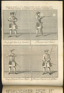 A four-panel illustration of Hannah Snell in a soldier's uniform, in various positions with her firearm.