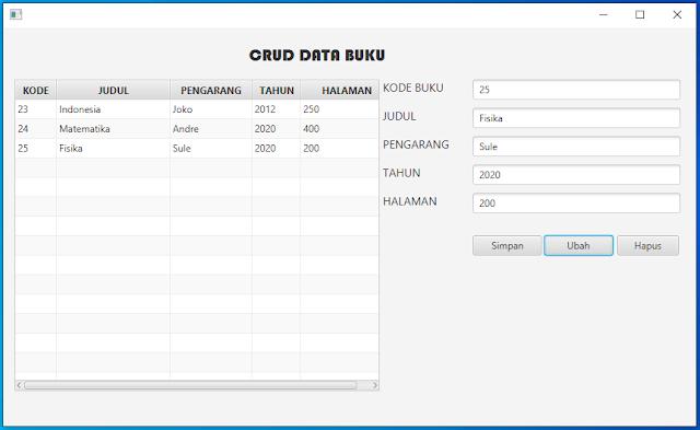 Belajar CRUD JavaFX - Tutorial Bahasa Indonesia