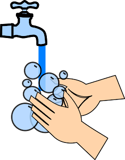 graphic of sink bubbles and hand washing