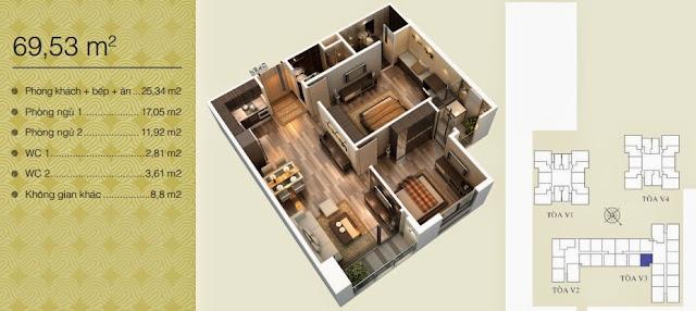 Căn 69,53 m2