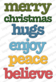 Use these great word dies for projects all year long, but especially at the holidays. Words like Merry, Christmas, and believe. But also hugs, enjoy, and peace that you can use for a variety of handmade cards and paper crafted projects. Click to see projects and ideas using this great die set and to purchase it from Impression Obsession (affiliate link)