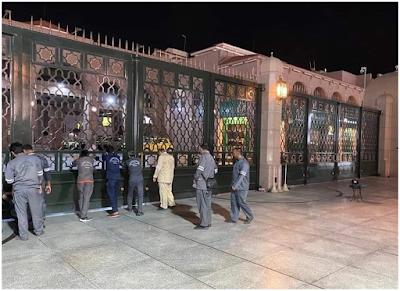 المدينة المنوره اغلاق ابواب المسجد النبوي