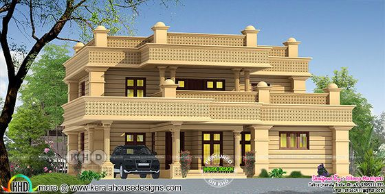 2610 sq-ft decorative Arabic model house plan