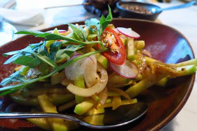 Dancing Fish Signature, spicy green apple salad
