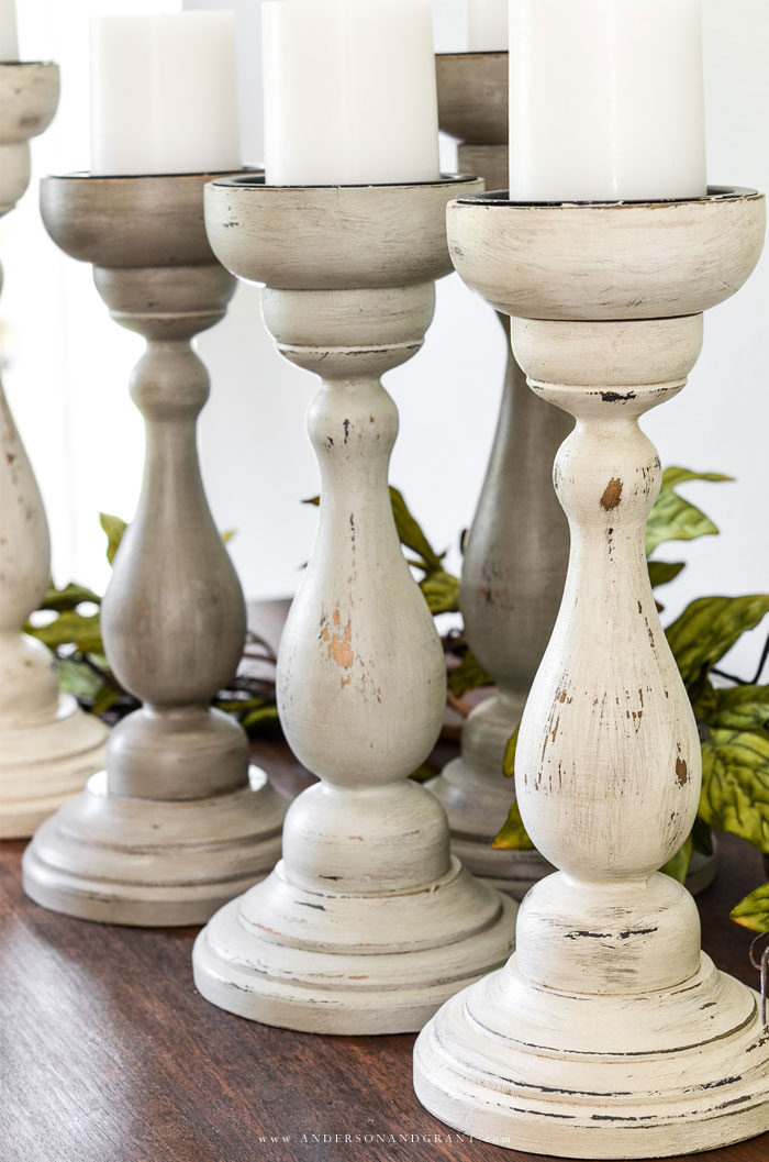 Collection of Painted candle holders