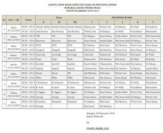 Jadwal Pelaksanaan Ujian Akhir Semester Ganjil 2020