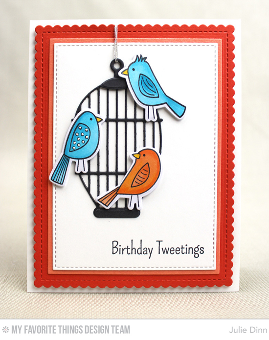 Birthday Tweetings Card by Julie Dinn featuring the Tweet Friends stamp set and Die-namics, and the Cheerful Cages, Inside & Out Stitched Rectangle STAX, and Blueprints 27 Die-namics, and the Bold Paisley stencil #mftstamps